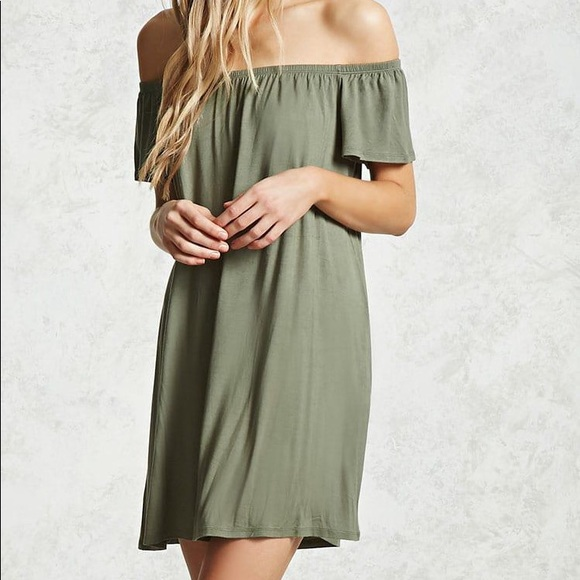 e66f4cecfce89 Olive Green Off the Shoulder Dress✨